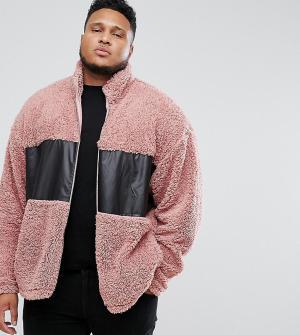 ASOS Спортивная куртка оверсайз из искусственного меха со вставками PL. Цвет: розовый