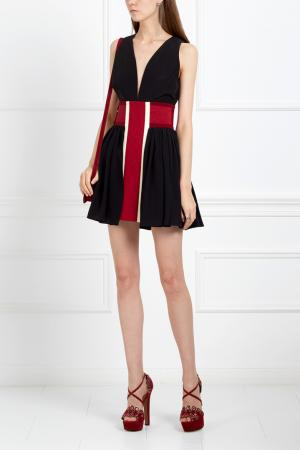 Шелковое платье Fausto Puglisi. Цвет: черный, красный, белый