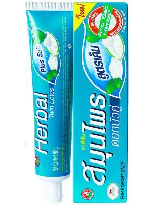 Зубная паста Herbal  Twin Lotus Plus Salt C травами и солью, 90 гр.. Цвет: зеленый