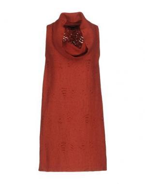 Короткое платье WALTER VOULAZ. Цвет: кирпично-красный
