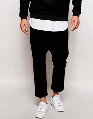 2 x H Brothers Укороченные спортивные штаны с заниженным шаговым швом 2xH. Цвет: черный
