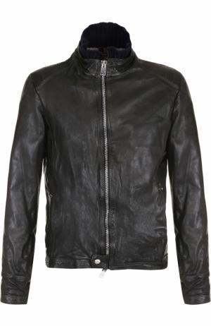 Кожаная куртка на молнии Delan. Цвет: хаки