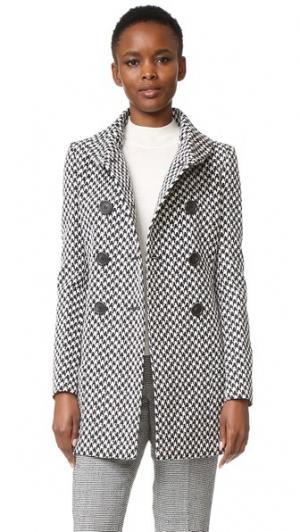 Двубортное пальто с высоким воротником Derek Lam. Цвет: черный/белый
