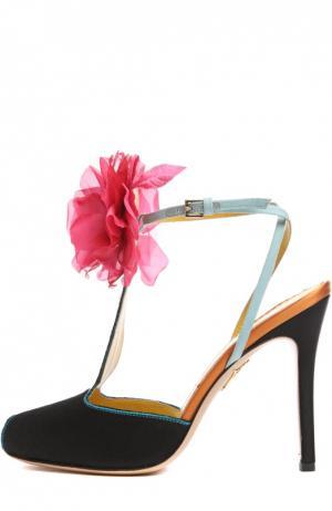Шелковые туфли Amphora с аппликацией Charlotte Olympia. Цвет: синий
