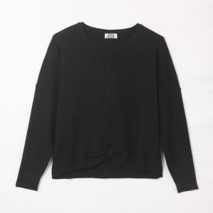 Пуловер на завязке с расклешенными рукавами MOLLY BRACKEN. Цвет: черный