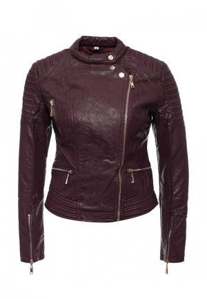 Куртка кожаная B.Style. Цвет: фиолетовый