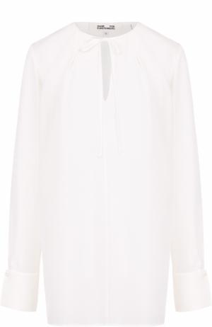 Шелковая блуза свободного кроя с круглым вырезом Diane Von Furstenberg. Цвет: белый