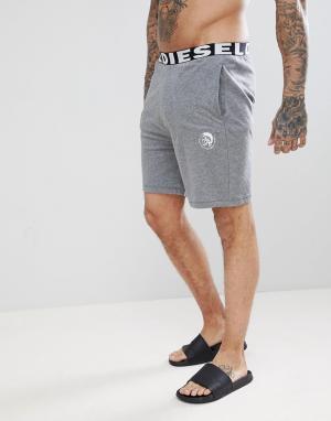 Diesel Серые легкие шорты для дома с большим логотипом. Цвет: серый