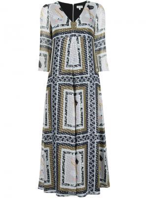 Платье с V-образным вырезом Suno. Цвет: многоцветный