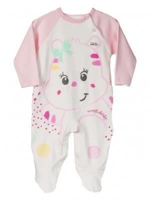 Комбинезон для малышей WO&GO. Цвет: молочный, розовый