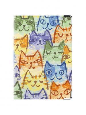 Обложка для паспорта Узор из кошек Tina Bolotina. Цвет: синий, голубой, оранжевый