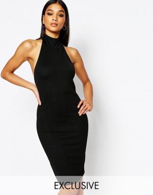 Club L Платье миди из крепа с высоким воротом. Цвет: черный