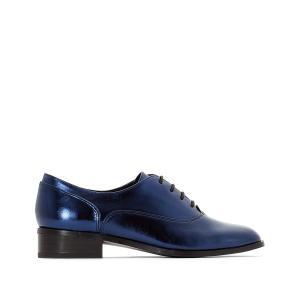 Ботинки-дерби блестящие La Redoute Collections. Цвет: серебристый,синий металлик