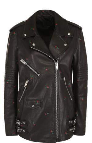 Кожаная куртка прямого кроя с принтом Alexander Wang. Цвет: черный