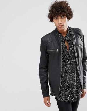 Goosecraft Черная байкерская куртка из матовой кожи. Цвет: черный