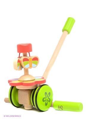 Игрушка развивающая деревянная каталка Бабочки в саду HAPE. Цвет: белый, красный