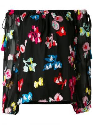 Блузка с открытыми плечами и вышивкой Tanya Taylor. Цвет: чёрный