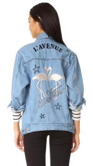 Свободная куртка LAvenue Des Stars с изображением фламинго Etre Cecile. Цвет: светло-голубой