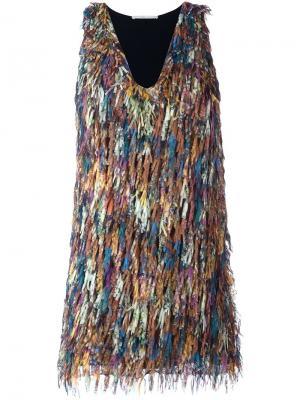 Платье мини с бахромой Marco De Vincenzo. Цвет: чёрный