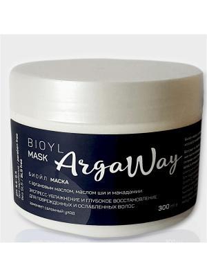 Биойл-маска с аргановым маслом, маслом ши и макадамии для поврежденных ослабленных волос ARGAWAY. Цвет: кремовый