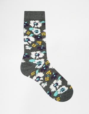 Urban Eccentric Носки с цветочным принтом. Цвет: серый