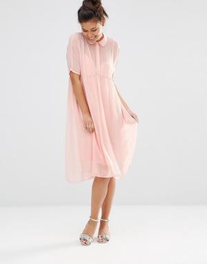 The WhitePepper Платье-рубашка с отливом. Цвет: розовый