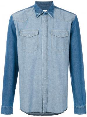 Двухцветная джинсовая рубашка Maison Margiela. Цвет: синий