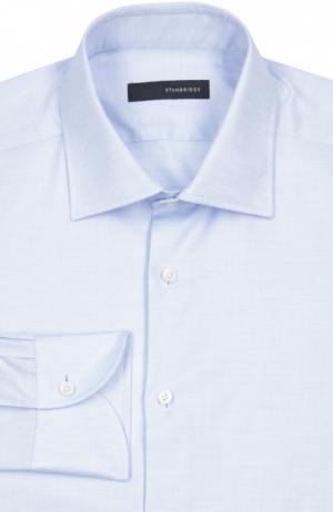 Хлопковая сорочка с воротником кент Stanbridge. Цвет: голубой