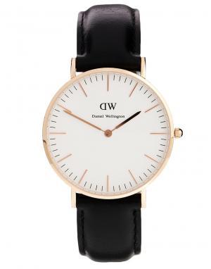 Daniel Wellington Черные классические большие часы с отделкой из розового золота. Цвет: черный