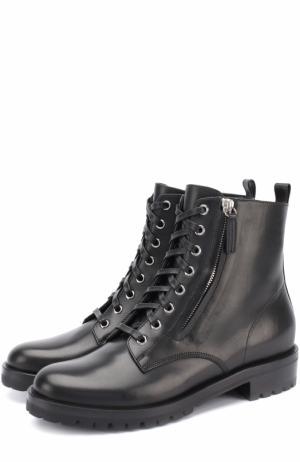 Кожаные ботинки на шнуровке Gianvito Rossi. Цвет: черный