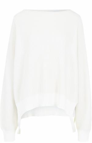 Пуловер свободного кроя с вырезом-лодочка Helmut Lang. Цвет: белый