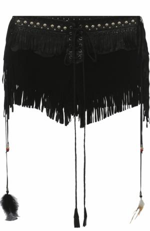 Замшевые мини-шорты с кожаной бахромой Roberto Cavalli. Цвет: черный