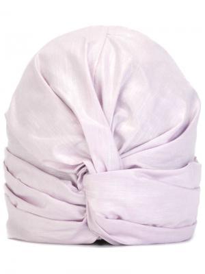 Тюрбан с бляшкой логотипом Super Duper Hats. Цвет: розовый и фиолетовый