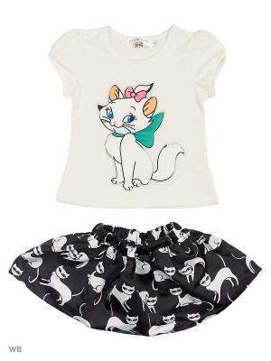 Юбка и футболка Happy Bear. Цвет: черный, белый