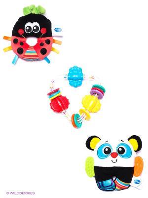 Игровой набор (3 погремушки) Playgro. Цвет: черный, малиновый, белый