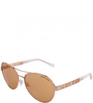 Солнцезащитные очки в металлической оправе Michael Kors. Цвет: золотистый