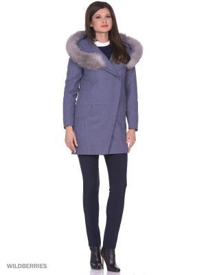 Пальто Anora. Цвет: серо-голубой