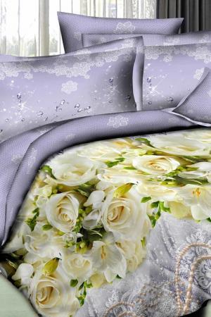Постельное белье семейное Patrizia. Цвет: бледно-сиреневый, желтый