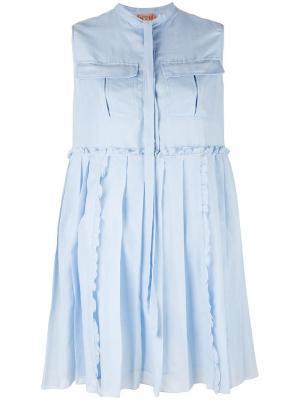 Платье с плиссировкой Nº21. Цвет: синий