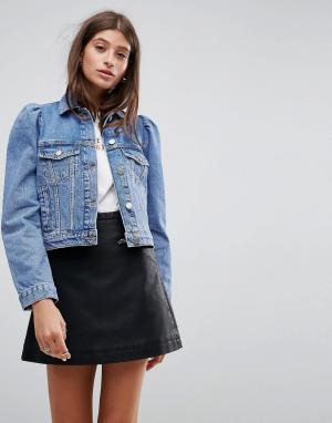 ASOS Выбеленная синяя джинсовая куртка с рукавами-фонариками. Цвет: синий