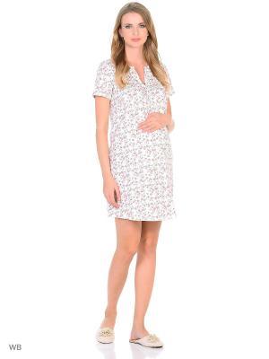 Сорочка для беременных и кормящих ФЭСТ. Цвет: молочный, красный