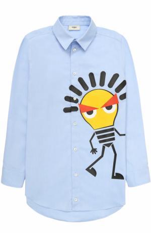 Хлопковая рубашка с принтом Fendi Roma. Цвет: голубой