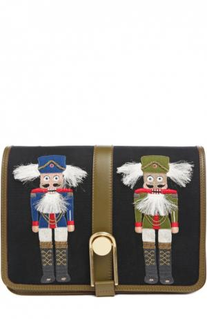 Сумка Victoire с вышивкой Olympia Le-Tan. Цвет: черный