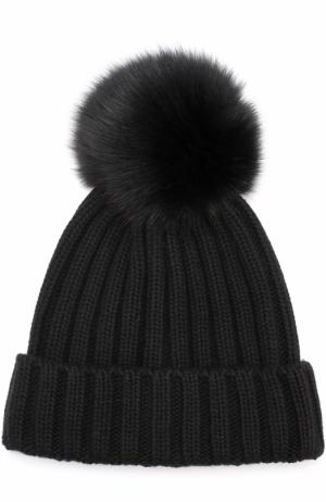 Вязаная шапка с помпоном из меха Nima. Цвет: черный