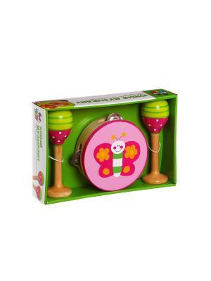 Игровой  набор деревянный, музыкальные инструменты, Юный Музыкант, бубен, маракасы, Bondibon. Цвет: синий, зеленый, красный