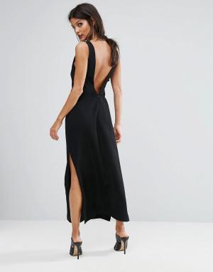 Finders Keepers Платье макси с глубоким V-образным вырезом сзади Luca. Цвет: черный
