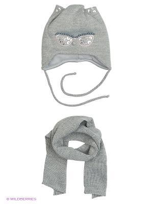 Шапка и шарф Ambra. Цвет: серый