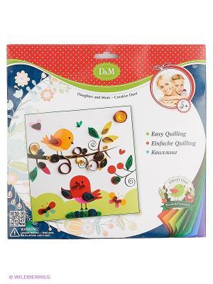 Набор для квиллинга Птички Делай с мамой. Цвет: белый, синий, зеленый, красный, желтый