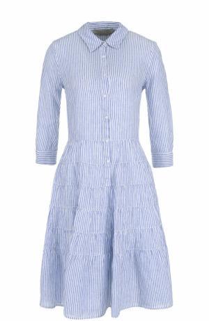 Льняное платье-рубашка в полоску 120% Lino. Цвет: белый