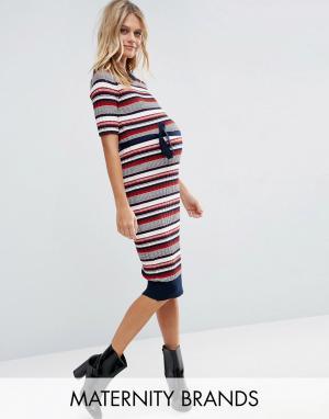Mama.licious Полосатое платье миди для беременных Mamalicious Rebekah. Цвет: мульти